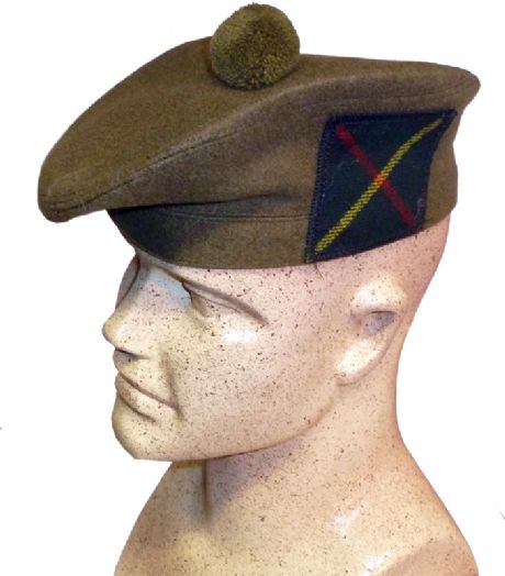 Scottish Military Tam O'Shanter hat available with various lowland Scottish regimental tartan patches. Also the option to include a cap badge and hackle of your choice.